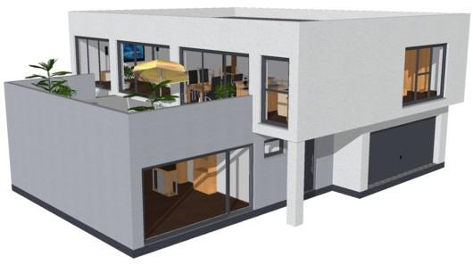 Modern Neubau Einfamilienhaus. Einfamilienhaus Neubau Modern Raum,  Wohnzimmer Dekoo